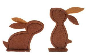 Feltro-coniglietto da appoggiare, marrone, 2 pz