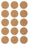 Kork-Sticker, 15 Stück Kreise (25 mm)