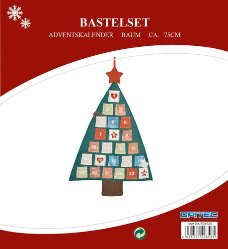 Bastelset adventskalender baum 75 cm opitec for Bastelset weihnachten