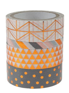 Washi Tape, Hotfoil kupfer, 4er-Set (5/15mm x 10m)