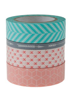 Washi Tape, geometrisch, 4er-Set (5/15mm x 10m)