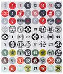 Sticker, 72 Stück Adventskalender rund (40 mm)