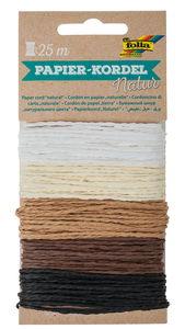 Papierkordel, 5 Farben á 5 m natur/braun