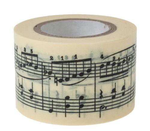 washi tape musiknoten schwarz wei 30mm x 10m opitec. Black Bedroom Furniture Sets. Home Design Ideas