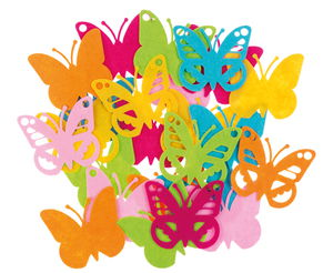 Filz-Schmetterlinge, 24er-Set bunt sortiert (10cm)