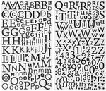 Sticker, Zahlen und Buchstaben glitzer schwarz