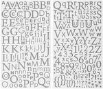 Sticker, Zahlen und Buchstaben Glitzer silber