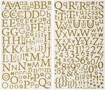 Sticker, Zahlen und Buchstaben glitzer gold