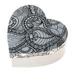 Box di cartone - cuore Doodle Art, bianco/nero