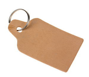 Porte-clés en cuir - Étiquette (80 x 43 mm)