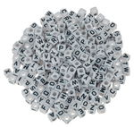 Perline a dado con alfabeto, sintetiche, 300 pezzi