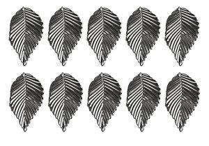 Ciondoli foglie, 31x54mm, argento, 10 pezzi