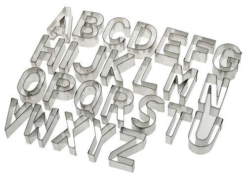 ausstechformen metall 26 buchstaben a z 6 cm opitec. Black Bedroom Furniture Sets. Home Design Ideas