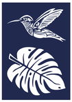 Mascherina per serigrafia - colibrì & monstera