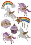 Stickers en papier - Licornes 3D, 8 stickers