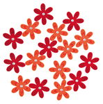 Felt Flowers, 16 pieces red/orange
