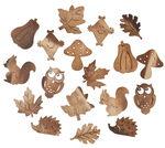 Houten strooidelen 'Herfst', set 18 stuks