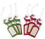 Ciondolo di feltro-Cervo, verde e rosso, 6 pezzi