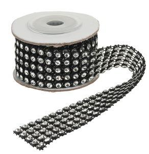 Glitzerband, 100 cm schwarz/silber (3 cm)