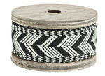 Deco ribbon on wooden spool, 2 m Ethno black/white