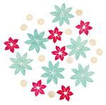 Houten strooidelen 'Bloemen', 3 kleuren, 24 stuks