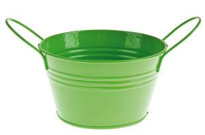 Metalen emmer met handvaten, 14 x 8 cm, groen