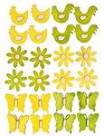 Houten strooidelen 'Voorjaar', geel/groen,24 stuks