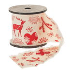 Decoratieband 'Kerstmis', 3m, rood/naturel (60 mm)