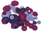 Bottoni di feltro, 45 pezzi lilla Mix (20-40 mm)
