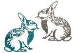 Legno - coniglietto decorativo, set da 2