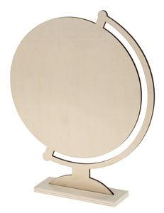 Houten 'Wereldbol' - plat (25,5 x 31 cm)