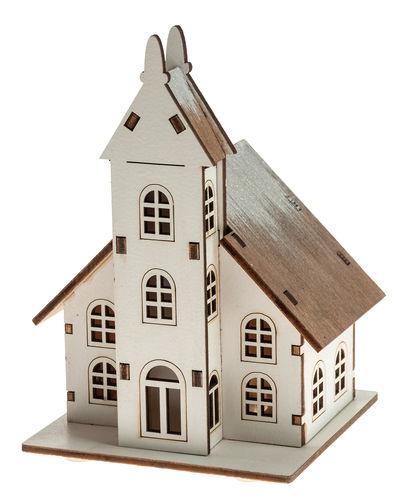 Houten kerk met LED-verlichting (10 x 9 x 14 cm) - Opitec