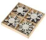 Legno - ciondoli fiocchi di neve, set da 12