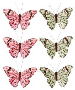 Farfalle decorative con clip, verde menta/salmone