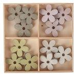 Houten strooidelen 'Bloem' (30 mm) 12 stuks