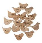 Houten strooidelen 'Vogel' met plakpunt, 18 stuks