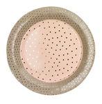 Pappteller, 12 Stück Konfetti rosa/grau (23 cm)
