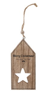 Holzhänger Etikett Merry Christmas (6,3 x 13 cm)