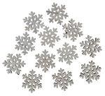 Streuteile Holz, 12 Stück Schneeflocke weiß (3 cm)