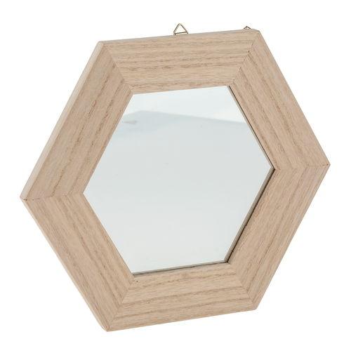 Specchio con cornice esagonale in legno 22 cm opitec for Specchio esagonale