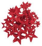 Streuteile Filz, 100 Sterne rot (25/45/65 mm)