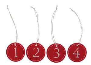 Ciondoli di feltro - cifre 1 - 4, rosso/bianco