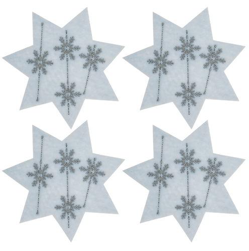 Etoiles En Feutrine Avec Motif Cristal De Glace Opitec
