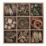 Houten natuur decoratie mix in box, naturel/groen