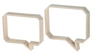 Holz-Wanddeko Sprechblasen 2er-Set