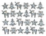 Filz-Zahlen 1-24 auf Klammer, grau/weiß (5x4,5 cm)