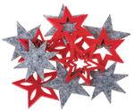 Vilten - sterren (38 mm) rood/grijs, 18 stuks