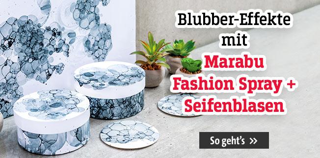 Blubber-Effekte mit Marabu Fashion Spray und Seifenblasen