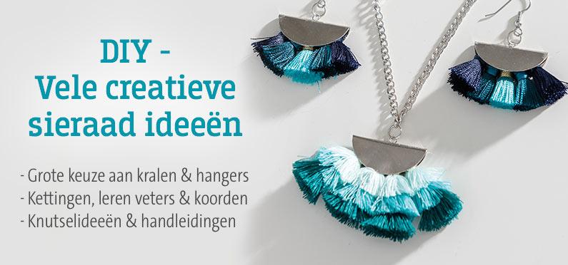DIY - Vele creatieve sieraad ideeën! Grote keuze aan kralen & hangers, kettingen, leren veters &  koorden, knutselideeën & handleidingen
