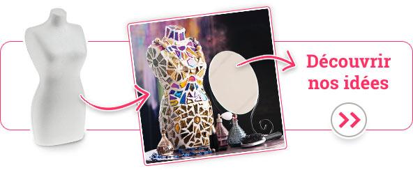 Exemple d'utilisation Forme en polystyrène décorer avec de la mosaïque<br/>Numéro d'articles 505072